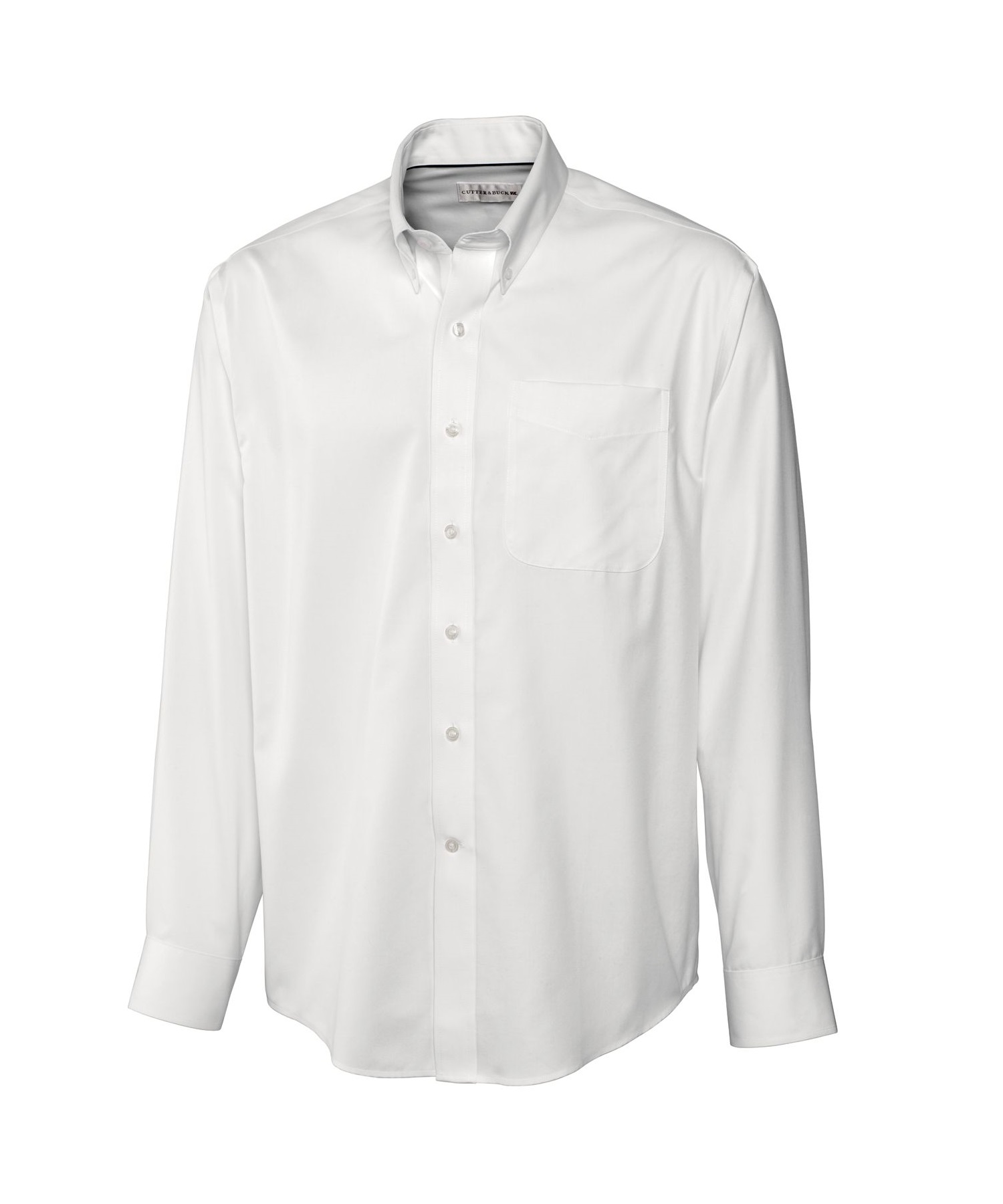 34b443348e7 Epic Easy Care Fine Twill White Long Sleeve Dress Shirt - Cutter & Buck
