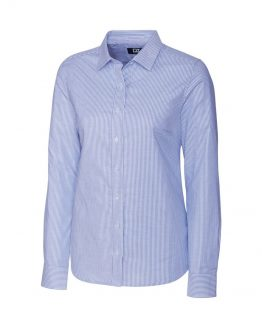 ladies stretch oxford stripe